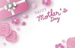 Дизайн знамени дня матерей розовых цветков с сердцем бесплатная иллюстрация