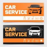 Дизайн знамени или рогульки с значками обслуживания автомобиля иллюстрация вектора