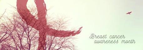 Дизайн знамени природы пинка осведомленности рака молочной железы Стоковые Фото