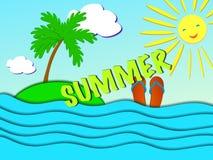 Дизайн знамени продажи лета с бумагой отрезал тропический пляж Стоковое Изображение