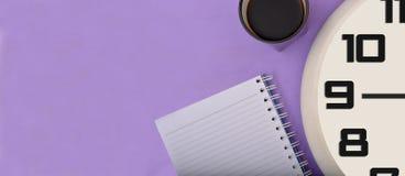 Дизайн знамени часов & блокнота кофе Стоковые Фото