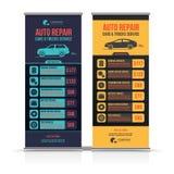Дизайн знамен Комплект автомобилей ремонта автомобилей & тележки обслуживают план, автомобили для продажи & брошюру ренты, рогуль Стоковые Фотографии RF