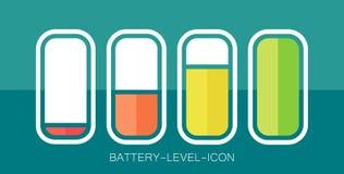 Дизайн значка батареи ровный на иллюстрации вектора предпосылки Teal Стоковые Фото