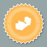 Дизайн значка Замбии плоский Стоковая Фотография