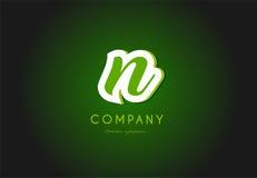 Дизайн значка компании зеленого цвета 3d логотипа письма алфавита n Стоковое фото RF