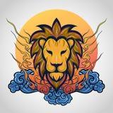 Дизайн значка логотипа татуировки льва главный, вектор стоковая фотография rf