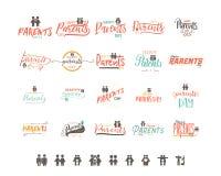Дизайн значка дня родителей Стикер, штемпель, логотип - handmade С пользой элементов оформления, каллиграфия и иллюстрация штока