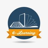 Дизайн значка обучения по Интернетуу иллюстрация штока