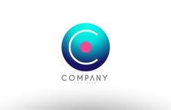 Дизайн значка логотипа письма сферы алфавита 3d c голубой розовый Стоковая Фотография RF