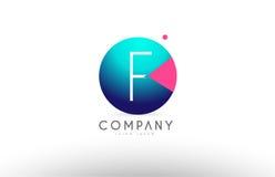 Дизайн значка логотипа письма сферы алфавита 3d f голубой розовый Стоковое Изображение RF