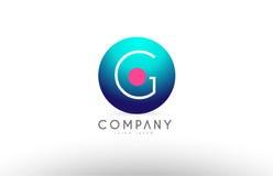 Дизайн значка логотипа письма сферы алфавита 3d g голубой розовый Стоковые Изображения RF