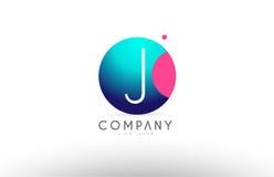 Дизайн значка логотипа письма сферы алфавита 3d j голубой розовый Стоковые Изображения RF