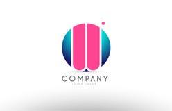 Дизайн значка логотипа письма сферы алфавита 3d w голубой розовый Стоковое фото RF