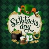Дизайн значка праздника дня St Patricks винтажный Стоковые Изображения