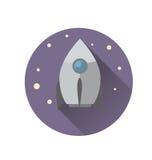 Дизайн значка Ракеты плоский Стоковые Фото