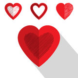 Дизайн значка сердца дня валентинки плоский Стоковое Фото