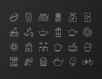Дизайн значка тонкой линии установленный Стоковые Фото