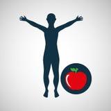 Дизайн здоровья яблока силуэта человека Стоковое Изображение