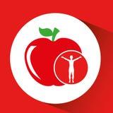 Дизайн здоровья яблока силуэта человека Стоковые Изображения