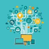 Дизайн иллюстрации концепции инфраструктуры интернета плоский Стоковая Фотография RF
