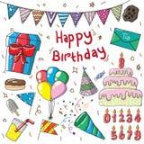 дизайн иллюстрации editable дня рождения установленный иллюстрация вектора
