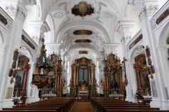 Дизайн интерьера аббатства Kloster Irsee Стоковая Фотография RF