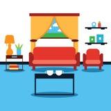 Дизайн интерьера живущей комнаты с мебелью Стоковые Изображения RF