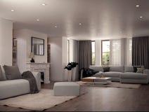 Дизайн интерьера живущей комнаты Стоковое Изображение RF