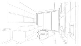 Дизайн интерьера: жить Стоковые Изображения
