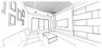Дизайн интерьера: жить Стоковое фото RF