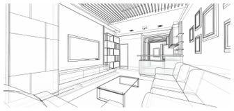 Дизайн интерьера: жить Стоковое Изображение