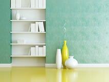 Дизайн интерьера. Книжные полки и вазы крытые. Стоковая Фотография