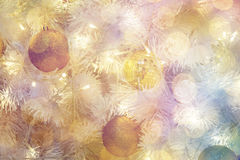 Дизайн интерьера комнаты рождества, дерево Xmas украшенное Pr светов Стоковое фото RF