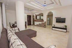 Дизайн интерьера комнаты роскошной квартиры живущей Стоковые Изображения RF