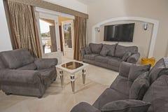 Дизайн интерьера комнаты роскошной квартиры живущей Стоковое Изображение RF