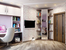 Дизайн интерьера комнаты ` s детей для девушки Стоковые Фото