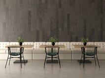 Дизайн интерьера кофейни, кафе перевод 3d иллюстрация штока