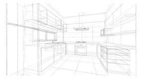 Дизайн интерьера: кухня Стоковые Фотографии RF