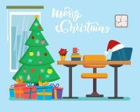 Дизайн интерьера офиса рождества с таблицей, окном, елью, настоящими моментами Фрилансер, дизайнерское рабочее место офиса Бизнес иллюстрация штока