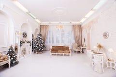 Дизайн интерьера рождества больших белых квартир Стоковое Изображение RF