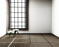 Дизайн интерьера, современная живущая комната со стулом, циновка tatami пола и традиционный японец r иллюстрация штока