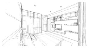 Дизайн интерьера, спальня Стоковая Фотография RF