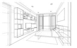 Дизайн интерьера, спальня Стоковое Изображение RF