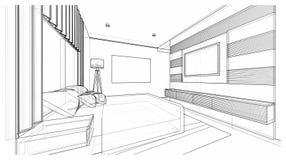 Дизайн интерьера: спальня Стоковое Изображение