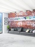 Дизайн интерьера стиля белой спальни минимальный с деревянной стеной и серой софой перевод 3d иллюстрация 3d Стоковое Фото