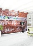 Дизайн интерьера стиля белой спальни минимальный с деревянной стеной и серой софой перевод 3d Стоковое Изображение