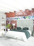 Дизайн интерьера стиля белой спальни минимальный с деревянной стеной и серой софой перевод 3d иллюстрация 3d Стоковое Изображение RF
