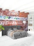 Дизайн интерьера стиля белой спальни минимальный с деревянной стеной и серой софой перевод 3d иллюстрация 3d Стоковые Фото