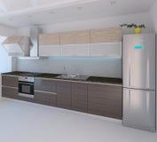 Дизайн интерьера стиля кухни современный, 3D представляет Стоковое Фото