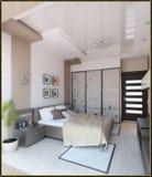 Дизайн интерьера стиля спальни современный, 3D представляет Стоковое Фото